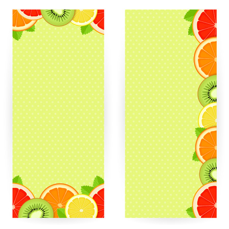 rich in vitamins: Set of backgrounds with juicy slices of bright fruit and mint leaves Illustration