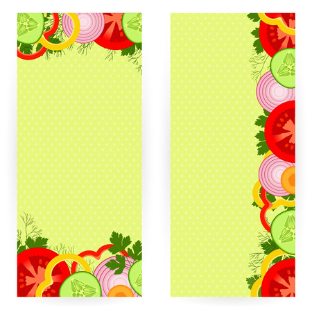 Set of vegetarian backgrounds with vegetables and greens
