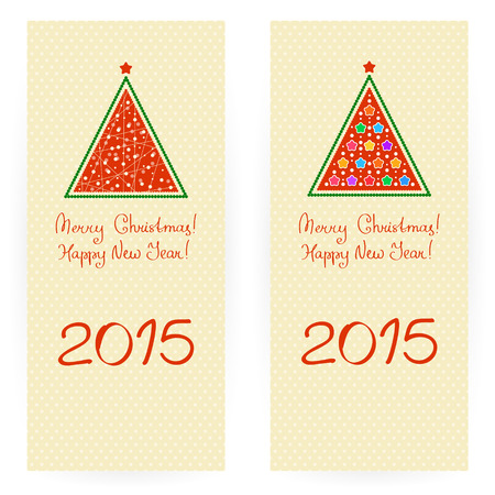 paillette: Set of two festive backgrounds in beige colours with stylized Christmas trees and greeting texts