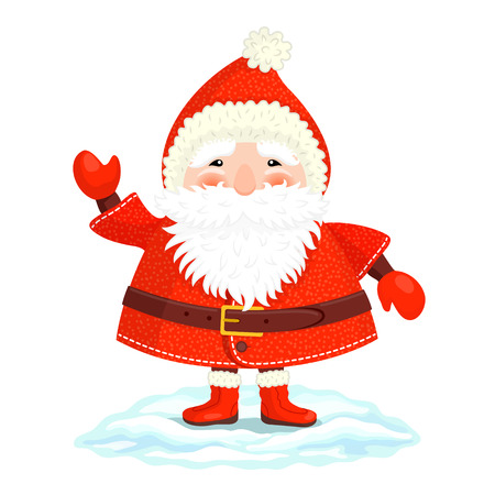 moroz: Funny Ded Moroz in red cap, coat, mittens and boots is waving his hand friendly Illustration