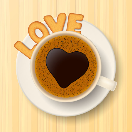 froth: Coffee cup and heart-shaped froth, and cookies in form of letters, are forming together the word love, on wooden background Illustration