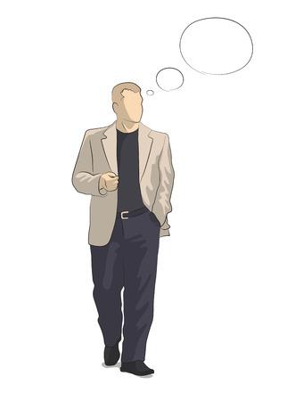businesslike: Figura estilizada de pie y el pensamiento del hombre de negocios en traje, y las nubes sobre su cabeza