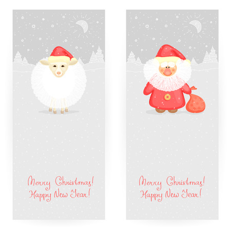 'ded moroz': Set of two festive backgrounds in gray colours with New Years sheep and Ded Moroz, and winter landscape
