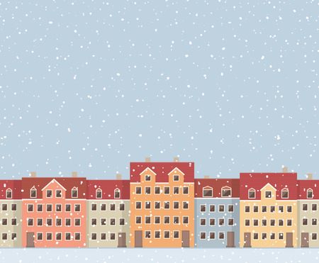 gloaming: Urban seamless pattern of colorful european houses, and snowfall