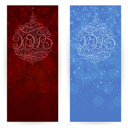 Set of festive backgrounds in dark-red and blue colours with ornamented Christmas tree decorations with inscription 2015 in the center Vector
