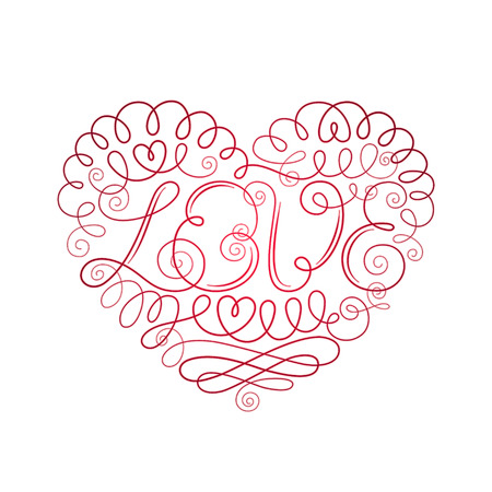 ornamented: Ornamented red heart with word Love in the center, curls and small hearts