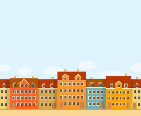 midday: Urban seamless pattern of colorful european houses, and snowfall