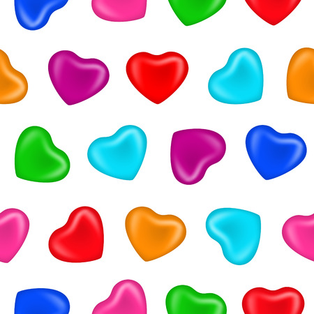 enamoured: Seamless pattern with multicolour hearts on white background