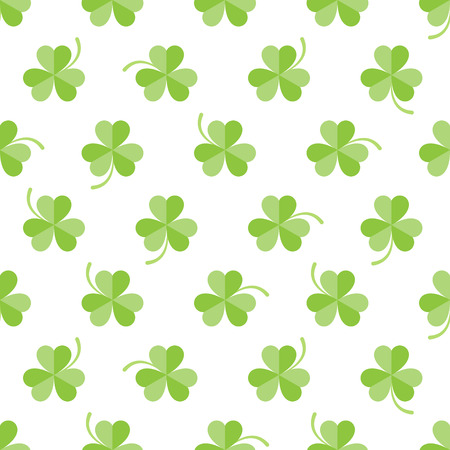 feast of saint patrick: Seamless pattern with three-leaved shamrocks on white background