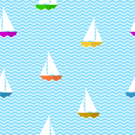 Seamless pattern with sea waves and colourful ships