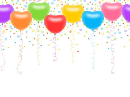 Seamless ornament with colourful heart-shaped balloons, spiral thread and multicoloured circles Vector