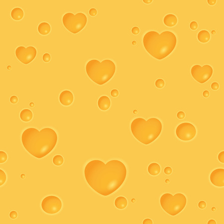 peephole: Seamless cheesy pattern with heart-shaped holes and round holes Illustration