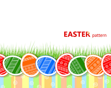 Seamless Easter pattern with ornamental eggs, grass and colourful stripes Vector