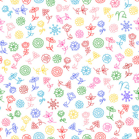 Seamless pattern with stylized colourful flowers on white background
