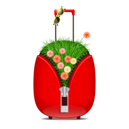 Red suitcase with big zipper, with grass and flowers inside and sunglasses on handle