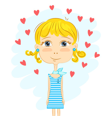 Funny blonde curly girl in striped dress and hearts, sketch Illustration
