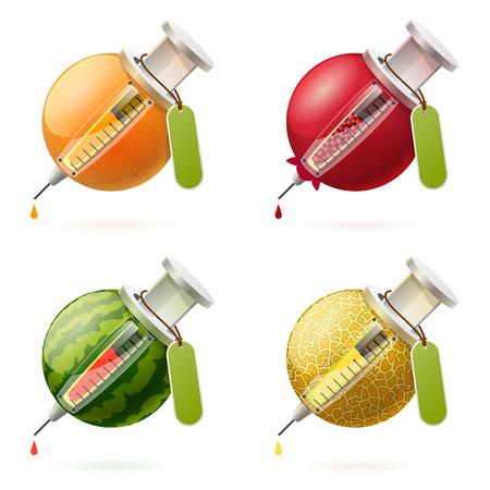 prophylaxe: Kombinatorik der stilisierten Obst und Spritzen mit Tropfen Saft und kleinen Schatten Illustration