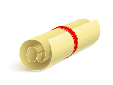 addressee: Rolled paper sheet with e-mail sign and small shadow