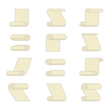 addressee: Set of rolled paper icons with e-mail sign