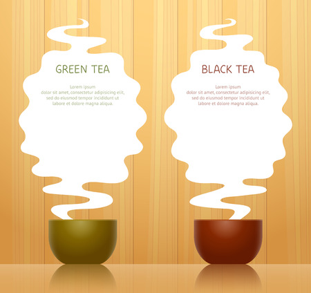 Cup for green tea and cup for black tea, steam above them with place for texts, on background with wooden pattern