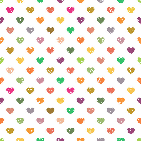 Seamless pattern with small multicolour hearts on white background Vector