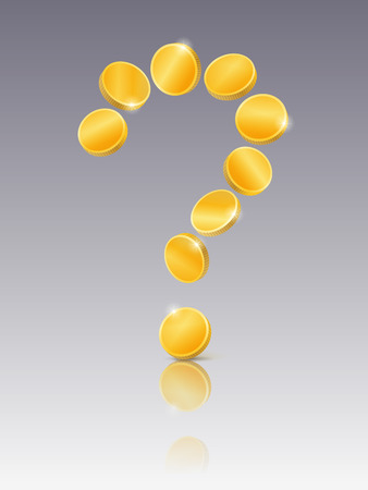 mirrored: Question mark of gold coins on mirrored background Illustration