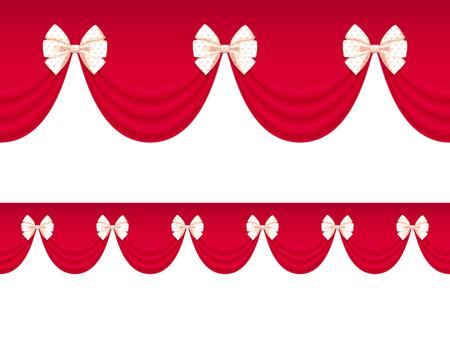 crimson: Seamless pattern with decorative crimson draperies and bows