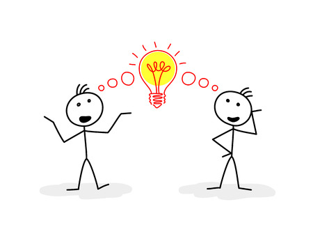 businesslike: Dos figuras estilizadas de hombres que hablan, y signo de bombilla entre ellos Vectores