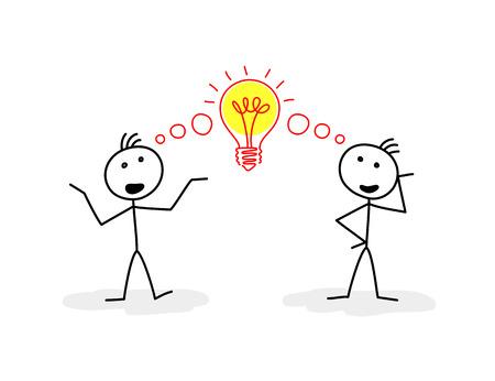 Twee gestileerde figuren van mannen praten, en het teken van de lamp tussen hen Stock Illustratie