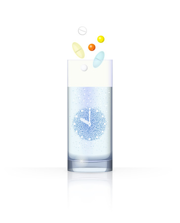 injunction: Glass with water and bubbles in the form of clock and pills above it, on white background