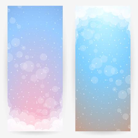 nubes cielo: Conjunto de dos fondos en tonos rosa-azul-marr�n delicados con nubes estilizadas, el cielo y los c�rculos