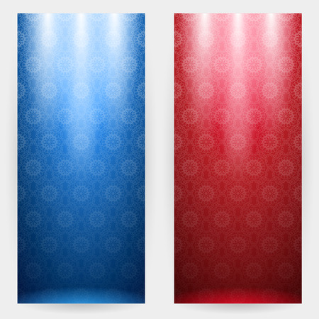 Set of two stylish patterned background in blue and red tones with spotlights