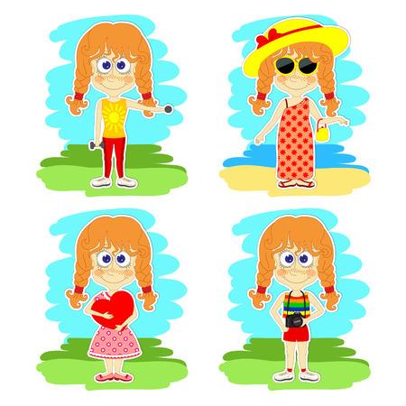 redheaded: Conjunto de cuatro escenas con chicas pelirrojas divertidos en vacaciones Vectores