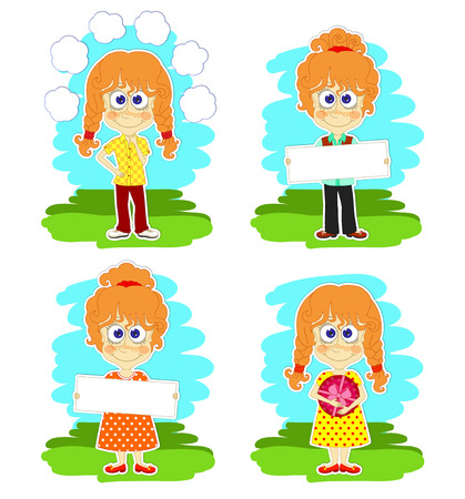 redheaded: Conjunto de cuatro escenas con chicas pelirrojas divertidos preparaci�n para las felicitaciones
