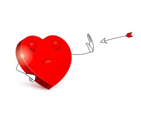 Cartoon hart met categorische gezichtsuitdrukking met behulp onbetaalbaar gebaar is het stoppen van de pijl vliegen in het