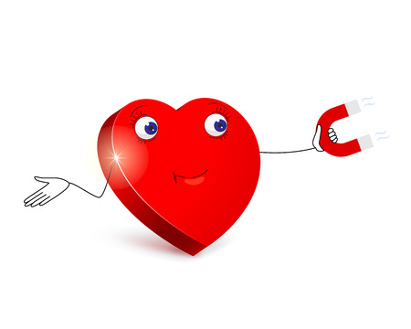 amorous: Cartoon red heart with merry facial expression by using red magnet in his hand is trying to lure amorous arrow Illustration