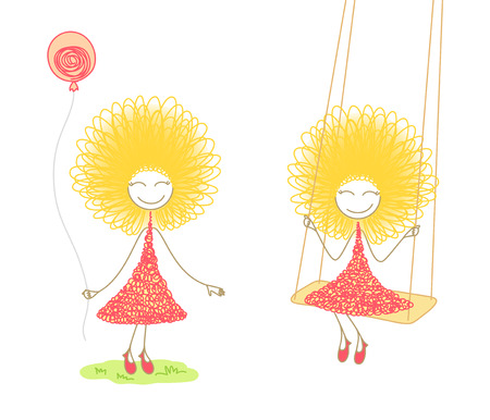 episode: Two scenes with funny girl in pink dress with balloon in her hands and on swing, on white background