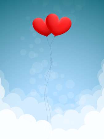 spaciousness: Two red heart-shaped balloons are flying in blue sky over white clouds