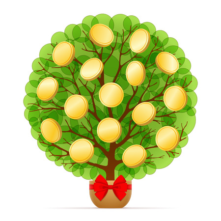leafage: Money tree with green leafage and gold coins is growing in pot decorated with red bow, on white background