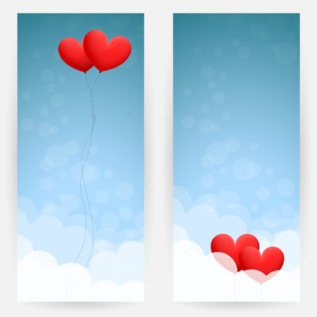 windy day: Set of two backgrounds with sky, clouds and two red heart-shaped balloons