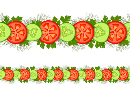Seamless ornament with sliced cucumbers and tomatoes with dill and parsley isolated on white background
