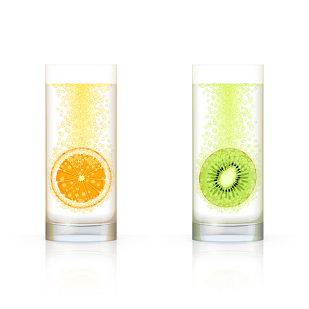 dewy: Glass with sliced orange and glass with  sliced kiwi fruit, with bubbles inside, on white background