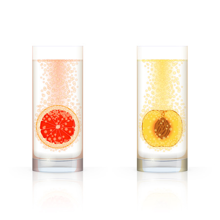 dewy: Glass with sliced grapefruit and glass with sliced peach, with bubbles inside, on white background