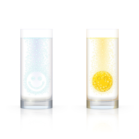 dissolving: Glass with bubbles in form of smiling face and glass with bubbles and dissolving tablet in form of smiling face, on white background