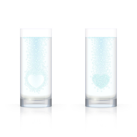 limpid: Glasses with transparent liquid and bubbles inside, forming the silhouette of heart, on white background