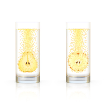 dewy: Glass with sliced apple and glass with sliced pear, with bubbles inside, on white background Illustration