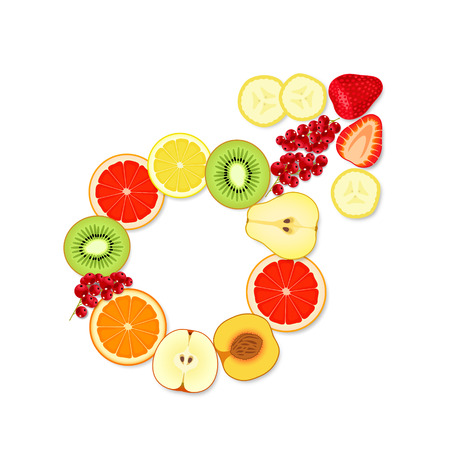potentiality: Appetizing male symbol, made from pieces of fruit and berries, on white background