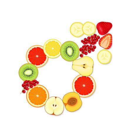 potentiality: S�mbolo masculino apetitoso, hecho de trozos de frutas y bayas, sobre fondo blanco Vectores