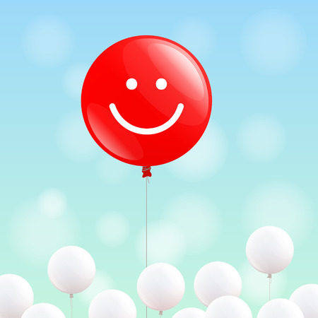 merry mood: Big red balloon with smiling face is flying in the blue sky, many little white balloons below