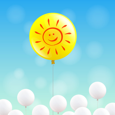 contented: Big yellow balloon with sunny face is flying in the blue sky, many little white balloons below